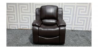 Havana Brown Bonded Leather Armchair Manual Recliner - Slight Dent Top Right Arm (see images) Ex-Display Showroom Model 47898