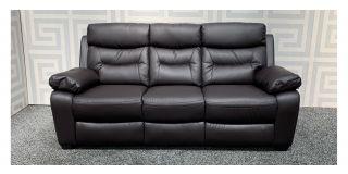 Admiral Brown Bonded Leather Static Large Sofa Ex-Display Showroom Model 47905