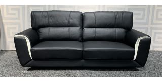 Peninsula Black With Cream Arm Detail Bonded Large Leather Sofa With Chrome Legs Ex-Display Showroom Model 47906