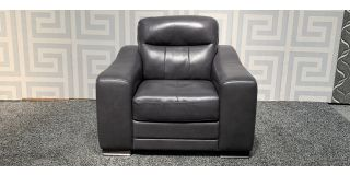 Venezia Grey Leather Armchair Sisi Italia Semi-Aniline With Wooden Legs Ex-Display Showroom Model 47908