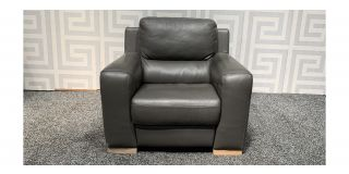Lucca Dark Grey Leather Armchair Electric Recliner Sisi Italia Semi-Aniline With Wooden Legs - Few Scuffs (see images) Ex-Display Showroom Model 47910