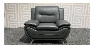 Venice Grey Bonded Leather Armchair With Chrome Legs Ex-Display Showroom Model 47928