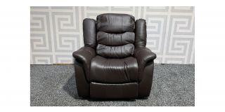 Brown Bonded Leather Armchair Manual Recliner Ex-Display Showroom Model 47934