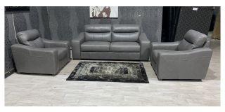 Venezia Grey Leather 3 + 1 + 1 Sofa Set Sisi Italia Semi-Aniline With Wooden Legs Ex-Display Showroom Model 47947