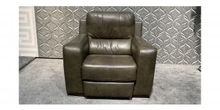 Lucca Dark Green Leather Armchair Electric Recliner Sisi Italia Semi-Aniline With Wooden Legs Ex-Display Showroom Model 47949