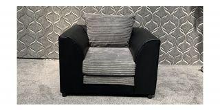 Black And Grey Jumbo Cord Fabric Armchair With PU Base - Ex-Display Showroom Model 47952