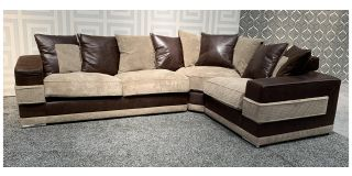 Kudos Brown RHF Fabric Corner Sofa With Scatter Back And Chrome Legs Ex-Display Showroom Model 48100