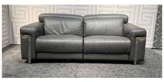 Bocelli Grey Large Sisi Italia Semi-Aniline Leather Electric Recliner With Chrome Legs And Adjustable Headrests - Scuff On Front Left Lower Arm (see images) Ex-Display Showroom Model 47955