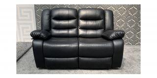 Roma Black Bonded Leather Regular Sofa Manual Recliner Ex-Display Showroom Model 47956