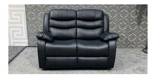 Roma Black Bonded Leather Regular Sofa Manual Recliner Ex-Display Showroom Model 47963