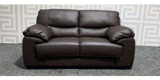 Italian Brown Regular Leather Sofa With Wooden Legs Ex-Display Showroom Model 47968