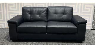Ravello Black Bonded Leather Large Sofa Ex-Display Showroom Model 47969