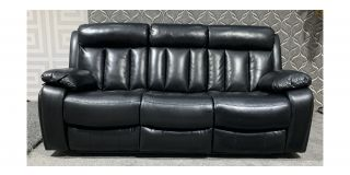 Somerton Black Leathaire Large Sofa Manual Recliner With Drinks Holder Ex-Display Showroom Model 47972