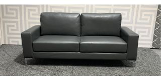 Tuscany Grey Bonded Leather Large Sofa With Chrome Legs Ex-Display Showroom Model 47981
