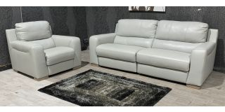 Lucca Light Grey Leather 3 + 1 Sofa Set Electric Recliner Sisi Italia Semi-Aniline With Wooden Legs Ex-Display Showroom Model 47985