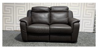 Italian Brown Leather Electric Recliner 2 Seater With USB Ex-Display Showroom Model 47991