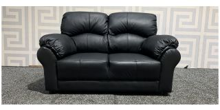 Black Leather Regular Sofa With Padded Arms Ex-Display Showroom Model 47992