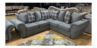 Verona Grey 2C2 Fabric Corner Sofa With Scatter Back And Wooden Legs Ex-Display Showroom Model 47994