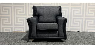 Black And Grey Fabric Armchair With Chrome Legs Ex-Display Showroom Model 47999
