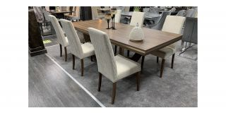 Saltarelli 2.5m Extendable Wood Table With 6 Cream Fabric Chairs (w:50 D:55 H:105cm)