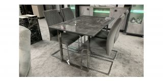 Grey Glass 1.2m Dining Table With Chrome Legs And 4 Grey Fabric Chairs (w:43 D:50 H:95cm)