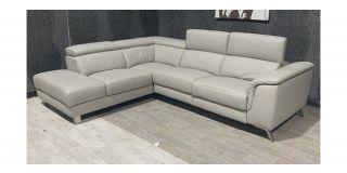 London Cream LHF Leather Corner Sofa With Adjustable Headrests And Chrome Legs Ex-Display Showroom Model 48065