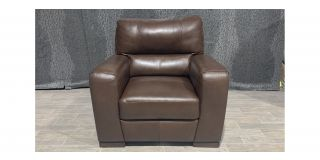 Lucca Brown Leather Armchair Sisi Italia Semi-Aniline With Wooden Legs Ex-Display Showroom Model 48008