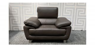 Valencia Brown Leather Armchair With Adjustable Headrests And Chrome Legs Ex-Display Showroom Model 48017