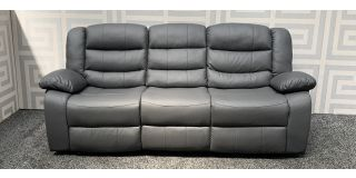Roma Grey Bonded Leather Large Sofa Manual Recliner With Drinks Holder Ex-Display Showroom Model 48019