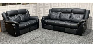 Roma Black Leathaire 3 + 2 Sofa Set Manual Recliners With White Piping Detail Ex-Display Showroom Model 48023