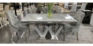 Majestic Marble And Chrome 1.6m Dining Table With 6 Grey Studded Fabric Chrome Leg Chairs (w:58 D:63 H:100cm)