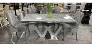 Majestic Marble And Chrome 1.6m Dining Table With 4 Grey Studded Fabric Chrome Leg Chairs (w:58 D:63 H:100cm)