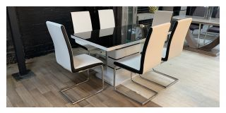 Chrono Black And White Tempered Glass Dining Table With 6 Chrome Leg Chairs (w:45 D:54 H:100cm)
