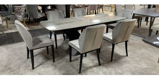 Ravel 2m Ceramic Extending Dining Table With 6 Grey Fabric Chairs (w:46 D:58 H:90cm)