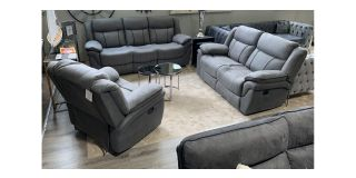 Martello Grey Fabric 3 + 2 + 1 Sofa Set Manual Recliners With Black Detailing