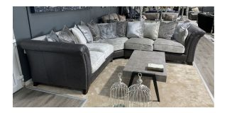 Velero Silver Grey 2C2 Fabric Corner Sofa With Studded Semi Aniline Leather - Scatter Back Cushions And Wooden Legs