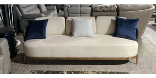 Cream Large Fabric Sofa With Faux Leather Sides Scatter Cushions And Gold-Chrome Legs