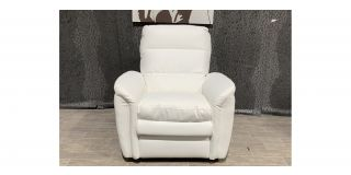 White Bonded Leather Armchair Manual Recliner Ex-Display Showroom Model 48050