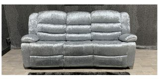 Silver Crushed Velvet Large Manual Recliner Fabric Sofa With Drinks Holders Ex-Display Showroom Model 48052