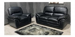 Verona Black Leathaire 2 + 1 Sofa Set Ex-Display Showroom Model 48053