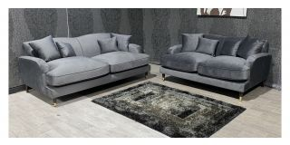 Grey Fabric 3 + 2 Sofa Set With Wood And Gold Colour Legs And Scatter Cushions