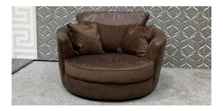 XL Brown Fabric Swivel Chair With Scatter Cushions Ex-Display Showroom Model 48079
