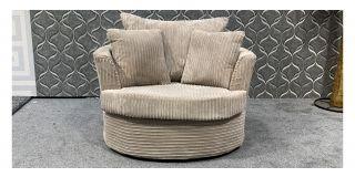 Beige Jumbo Cord Fabric Swivel Chair With Scatter Cushions Ex-Display Showroom Model 48081