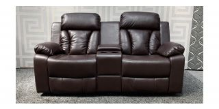 Somerton Brown Leathaire Regular Manual Recliner Sofa With Drinks Holders And Storage Section Ex-Display Showroom Model 48088