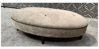 Beige Fabric Oval Footstool With Black Piping And Buttons With Wooden Legs Ex-Display Showroom Model 48089