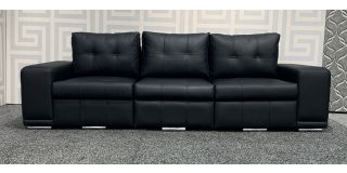 London Black Bonded Leather Large 4 Seater Sofa With Chrome Legs Ex-Display Showroom Model 48090
