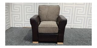 Brown And Beige Fabric Armchair With Wooden Legs - Few Scuffs (see images) Ex-Display Showroom Model 48091