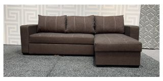 Brown Reversable Fabric Corner Sofa Bed With Storage And Constrast Stitching Ex-Display Showroom Model 48093