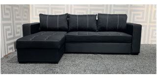 Black Reversable Fabric Corner Sofa Bed With Storage And Constrast Stitching Ex-Display Showroom Model 48094