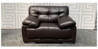 Alexis Brown Bonded Leather Armchair With Chrome Legs Ex-Display Showroom Model 48101